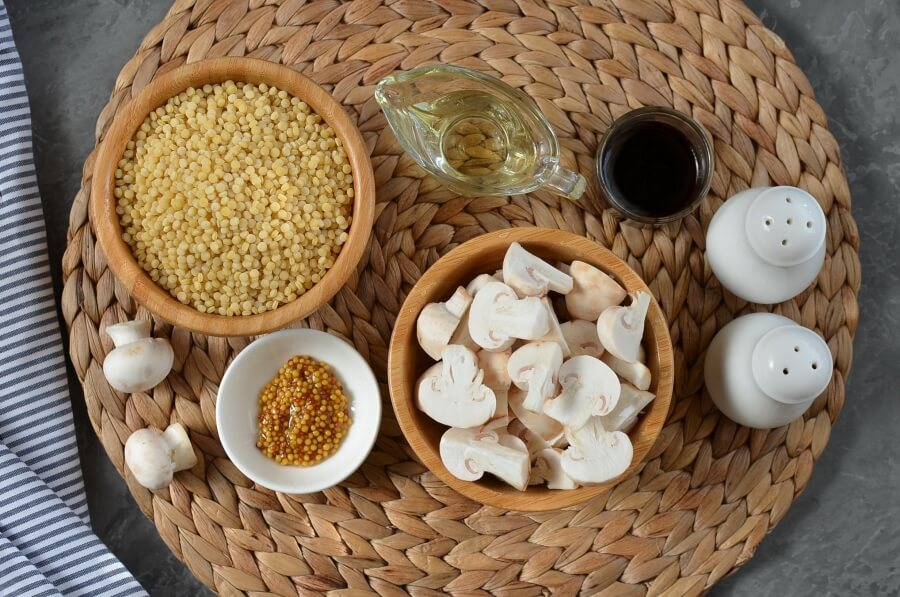 Ingridiens for Balsamic Couscous and Mushroom Salad