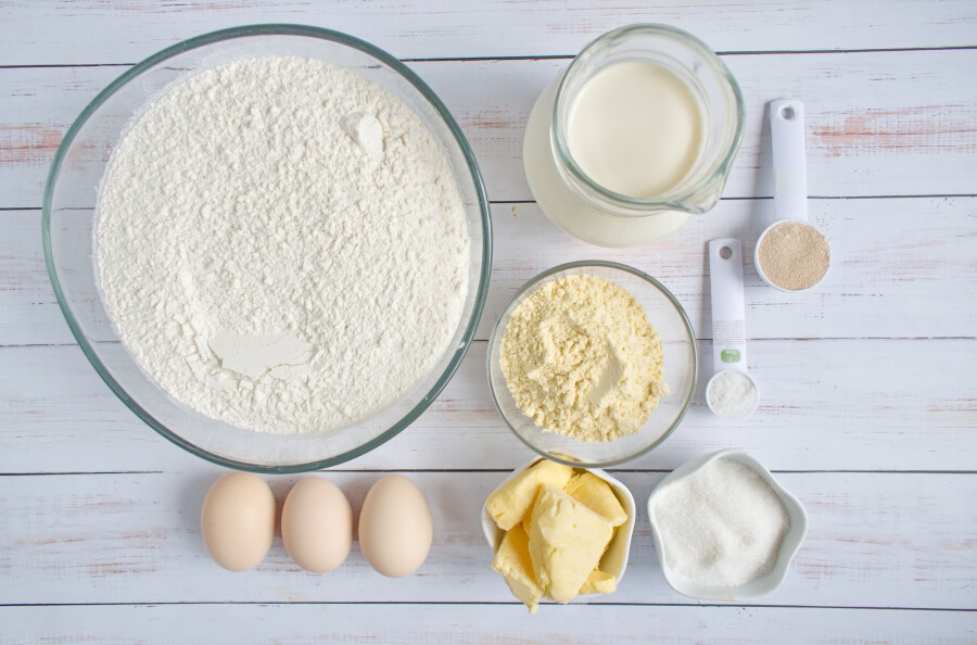 Ingridiens for Buttery Fluffy Cornmeal Dinner Rolls