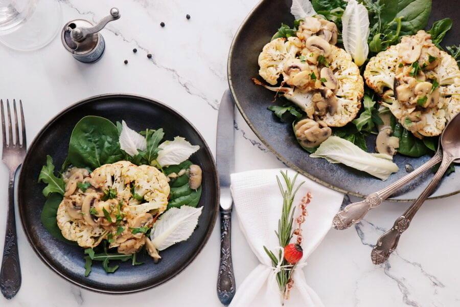 How to serve Vegan Cauliflower Steaks with Mushroom Gravy