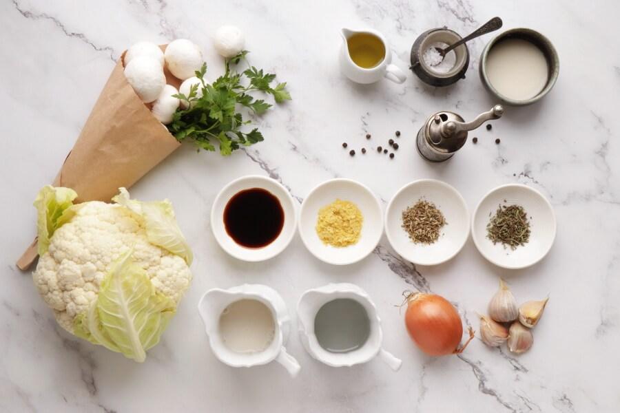 Ingridiens for Vegan Cauliflower Steaks with Mushroom Gravy