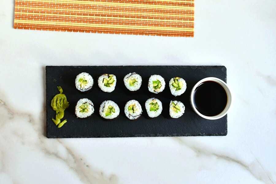 How to serve Cucumber and Avocado Sushi