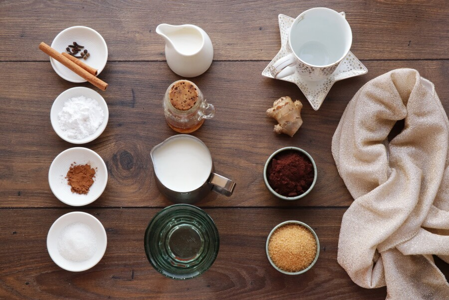 Ingridiens for Gingerbread Hot Chocolate