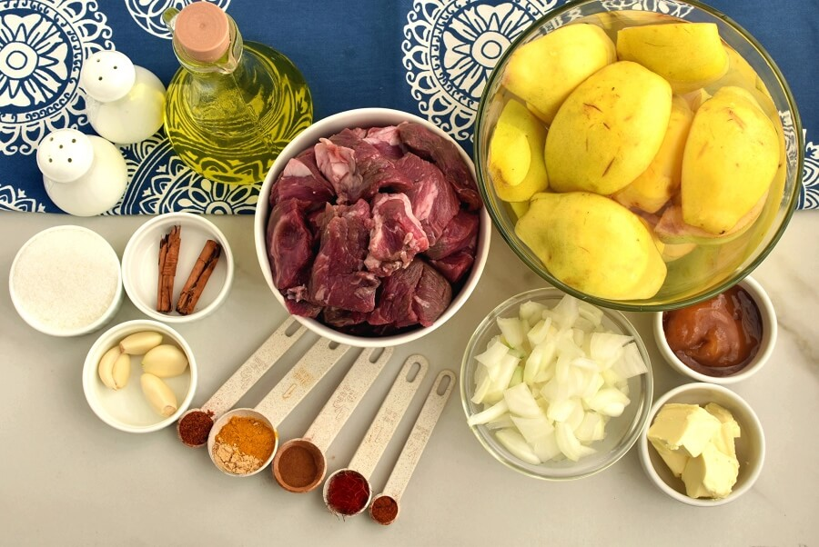 Ingridiens for Moroccan Tagine With Quinces and Honey