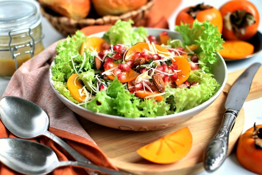 Persimmon Salad with Moroccan Sweet Vinaigrette Recipe-How To Make Persimmon Salad with Moroccan Sweet Vinaigrette Recipe-Delicious Persimmon Salad with Moroccan Sweet Vinaigrette Recipe