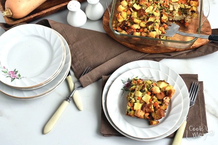Pretzel and Sausage Stuffing Recipe-How To Make Pretzel and Sausage Stuffing-Delicious Pretzel and Sausage Stuffing