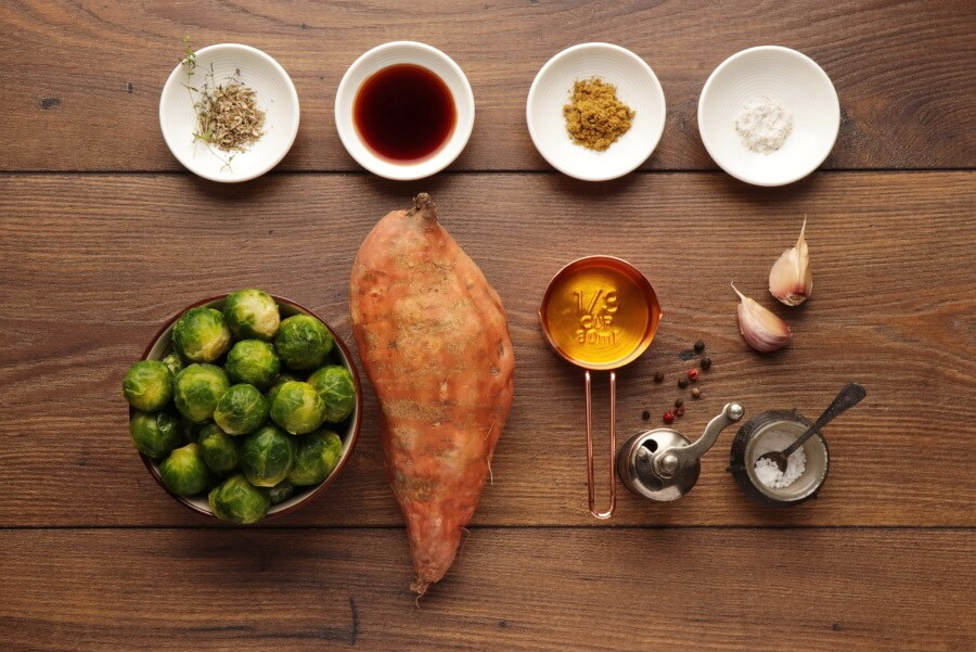 Ingridiens for Roasted Sweet Potatoes and Brussels Sprouts