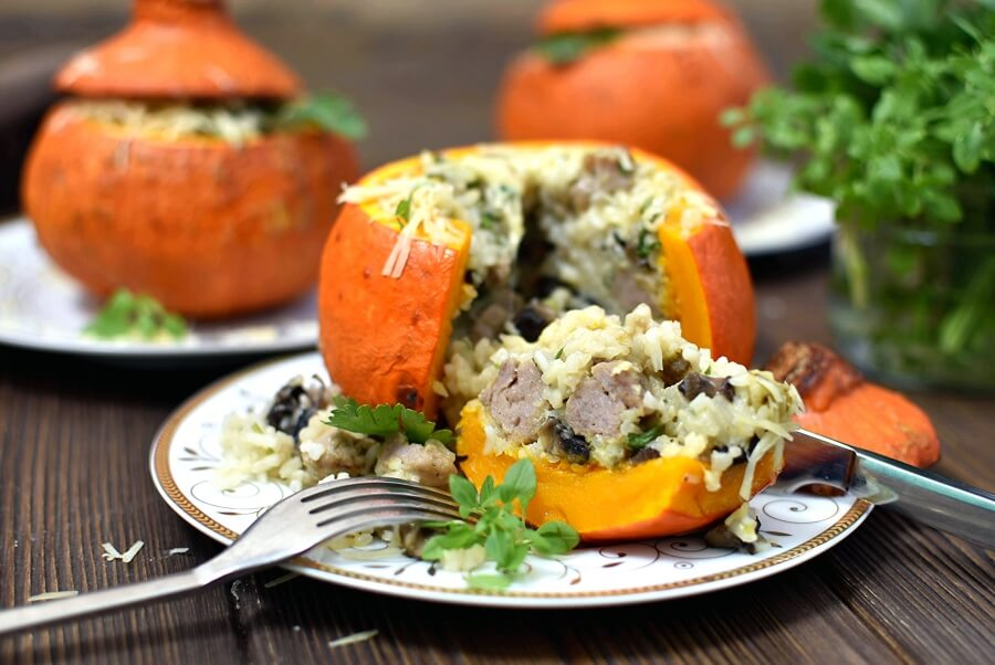 Sausage & Rice Stuffed Pumpkins Recipe-How To Make Sausage & Rice Stuffed Pumpkins-Delicious Sausage & Rice Stuffed Pumpkins
