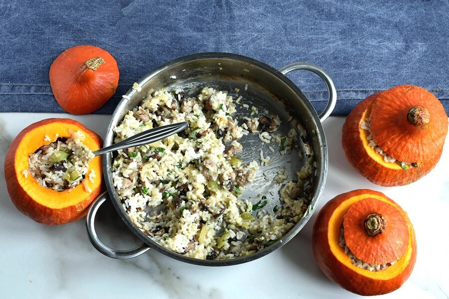 Sausage & Rice Stuffed Pumpkins recipe - step 5