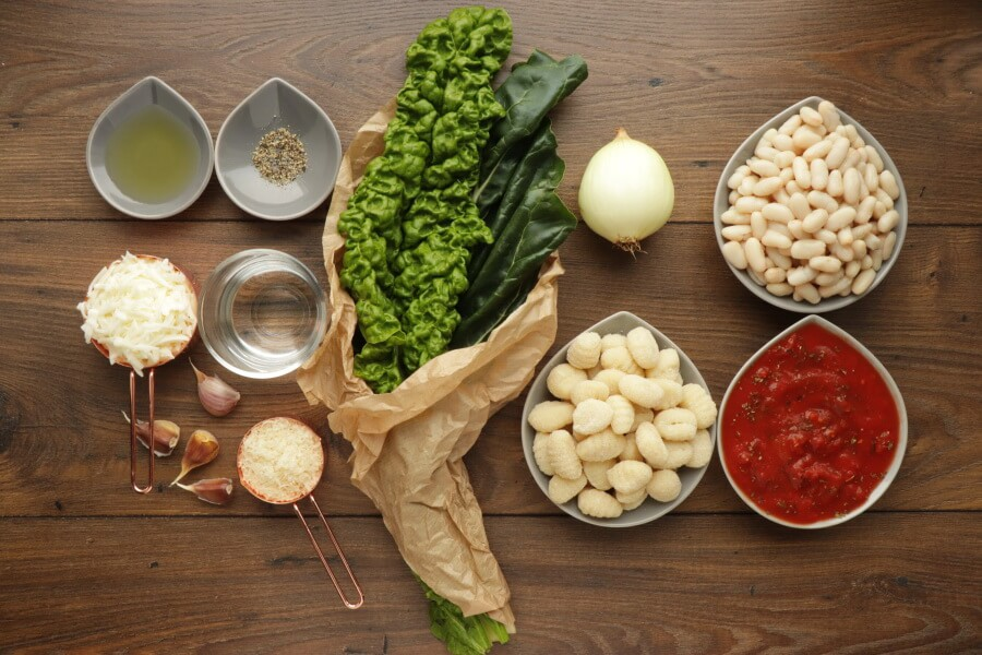 Ingridiens for Skillet Gnocchi with Chard & White Beans