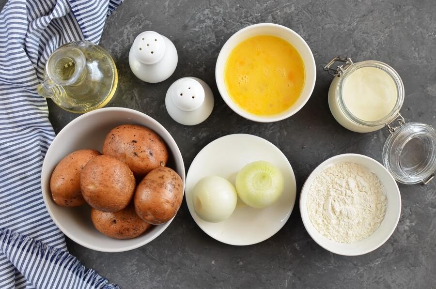 Ingridiens for Traditional Hanukkah Potato Latkes