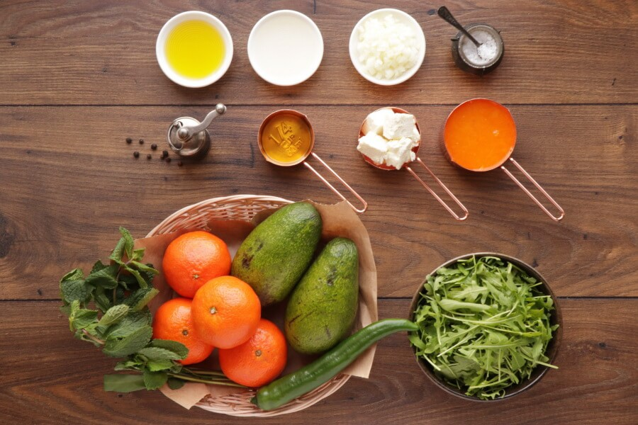 Ingridiens for Avocado and Tangerine Salad with Spicy Vinaigrette