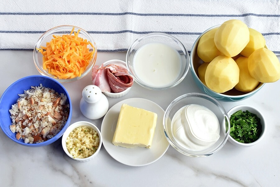 Ingridiens for Baked Mashed Potatoes with Cheese