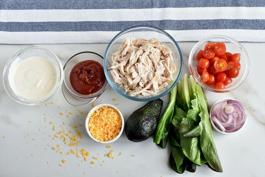 Ingridiens for Buffalo Chicken Lettuce Wraps