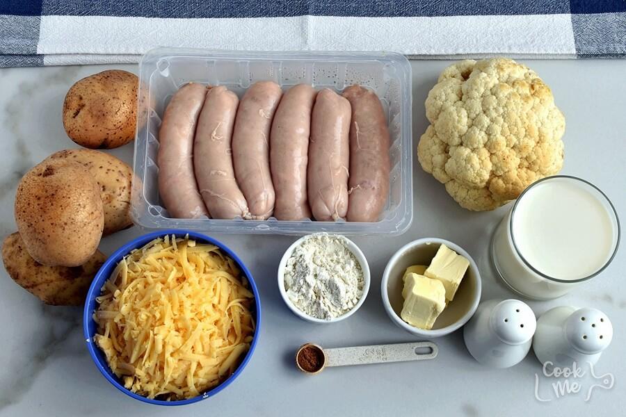 Ingridiens for Cauliflower Sausage Casserole
