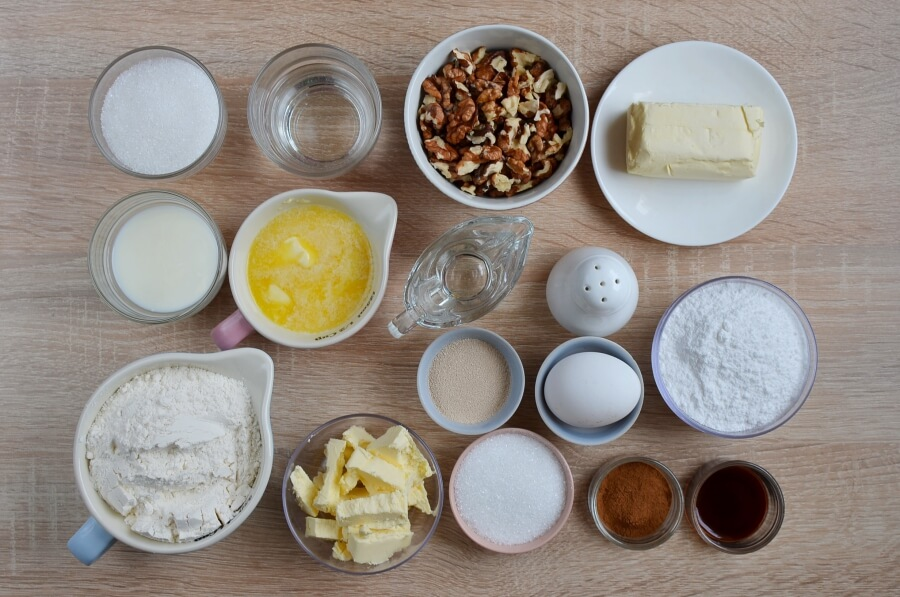 Ingridiens for Cinnamon Rolls with Nuts