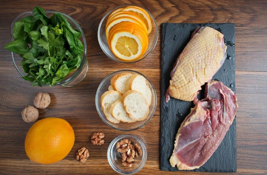 Ingridiens for Duck and Orange Salad