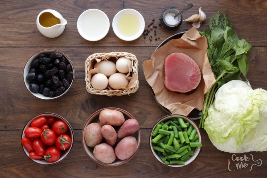 Easy Ahi Tuna Nicoise Salad Recipe-Salad Nicoise with Seared Tuna Recipe-Homemade Easy Ahi Tuna Nicoise Salad
