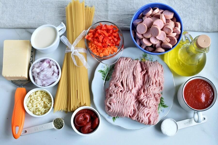 Ingridiens for Filipino Spaghetti