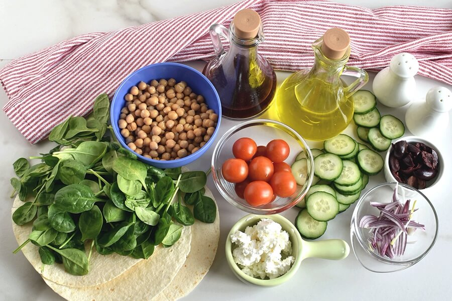 Ingridiens for Greek Salad Wraps