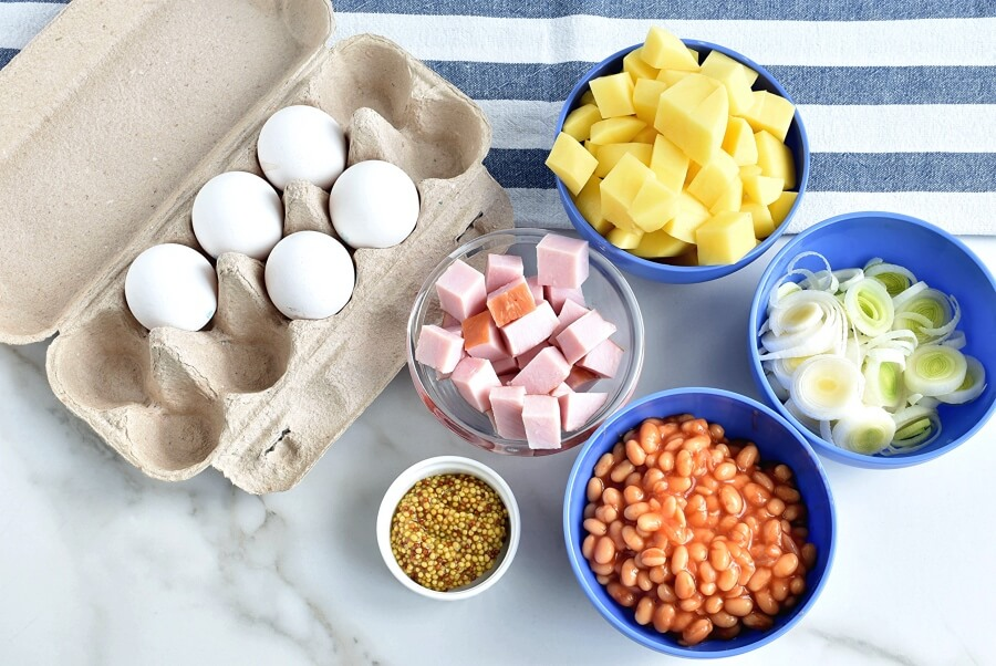Ingridiens for Ham & Potato Hash with Healthy 'Fried' Eggs