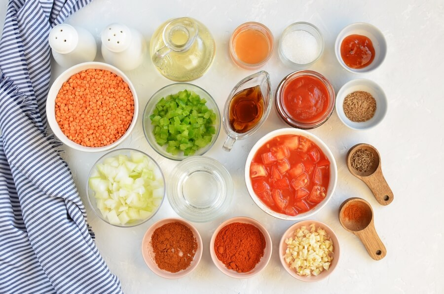 Ingridiens for Hearty Lentil Chili