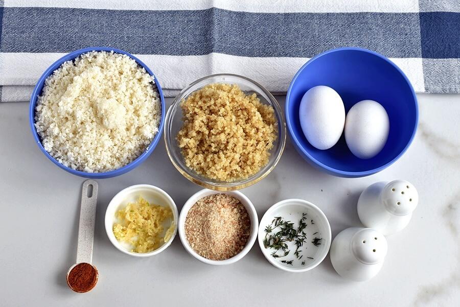 Ingridiens for Herbed Cauliflower Quinoa Meatballs