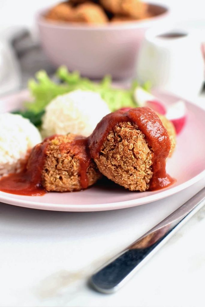 Vegan Meatballs with Herbed Cauliflower and Quinoa
