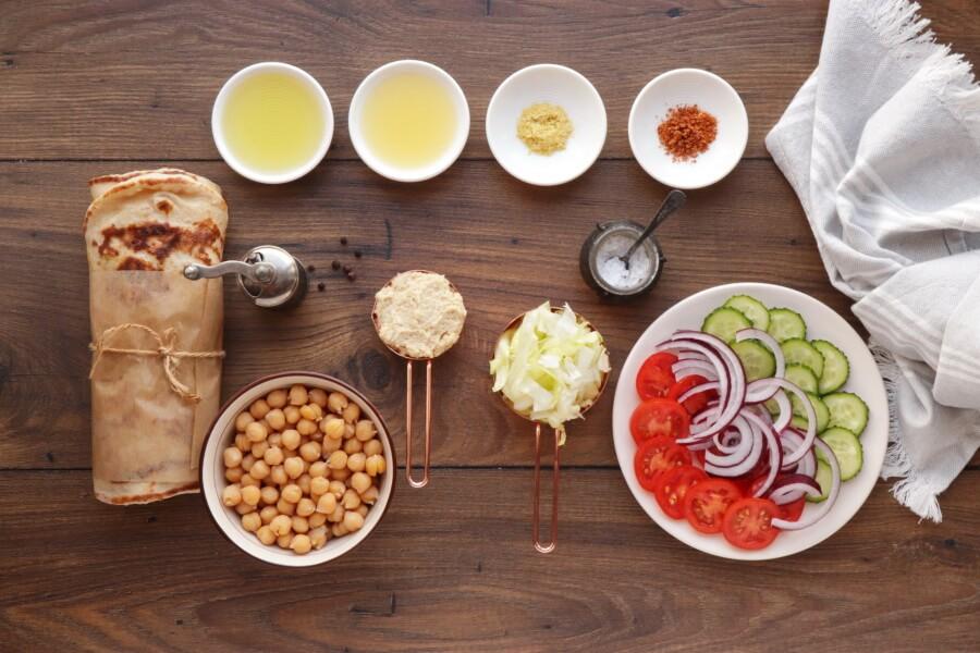 Ingridiens for Mediterranean Chickpea Naan Wraps