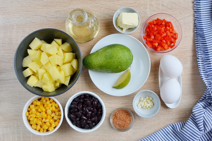 Ingridiens for Mexican Veggie Hash