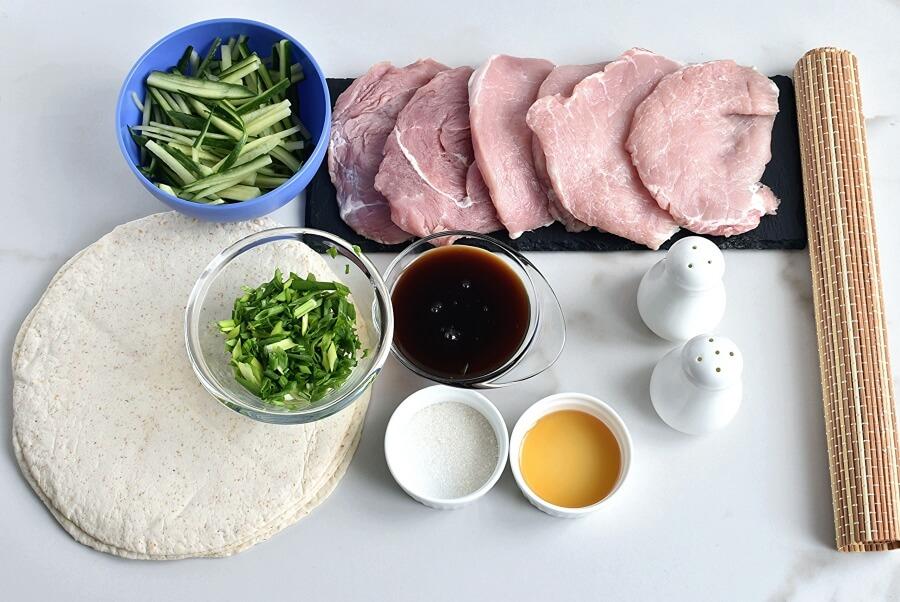 Ingridiens for Peking Pork Wraps