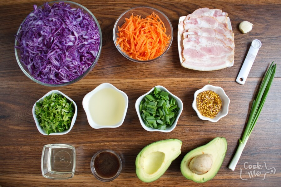 Ingridiens for Red Cabbage, Bacon and Avocado Slaw