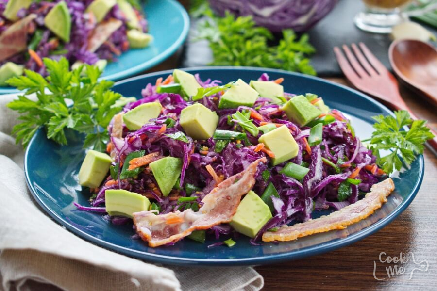 Red Cabbage, Bacon, and Avocado Slaw Recipe-Balsamic Red Cabbage, Bacon And Avocado Slaw-How to make Red Cabbage, Avocado Slaw