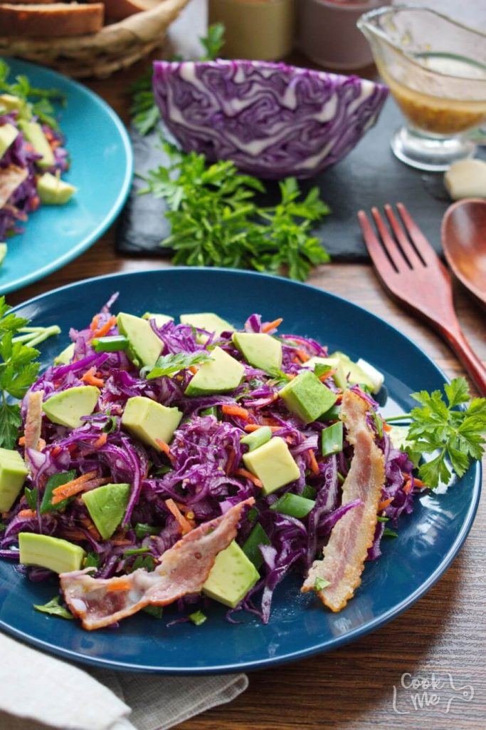 Red Cabbage, Bacon and Avocado Slaw
