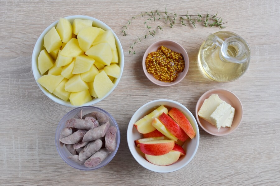 Ingridiens for Sausage, Mustard & Apple Hash
