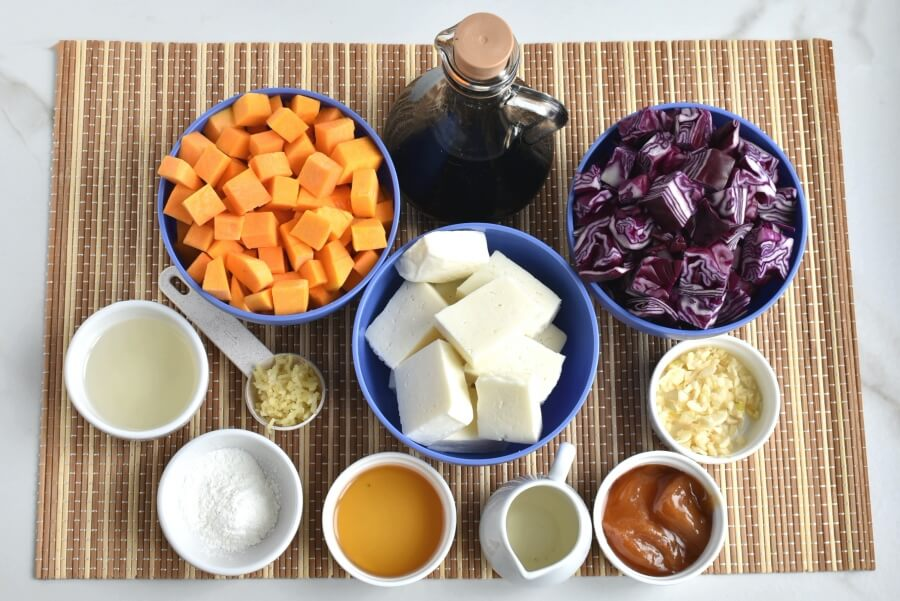 Ingridiens for Stir-Fried Tofu, Red Cabbage and Winter Squash