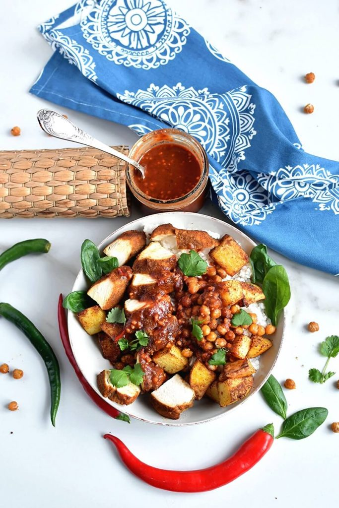 Tandoori Chicken Bowls with Peanut Sauce
