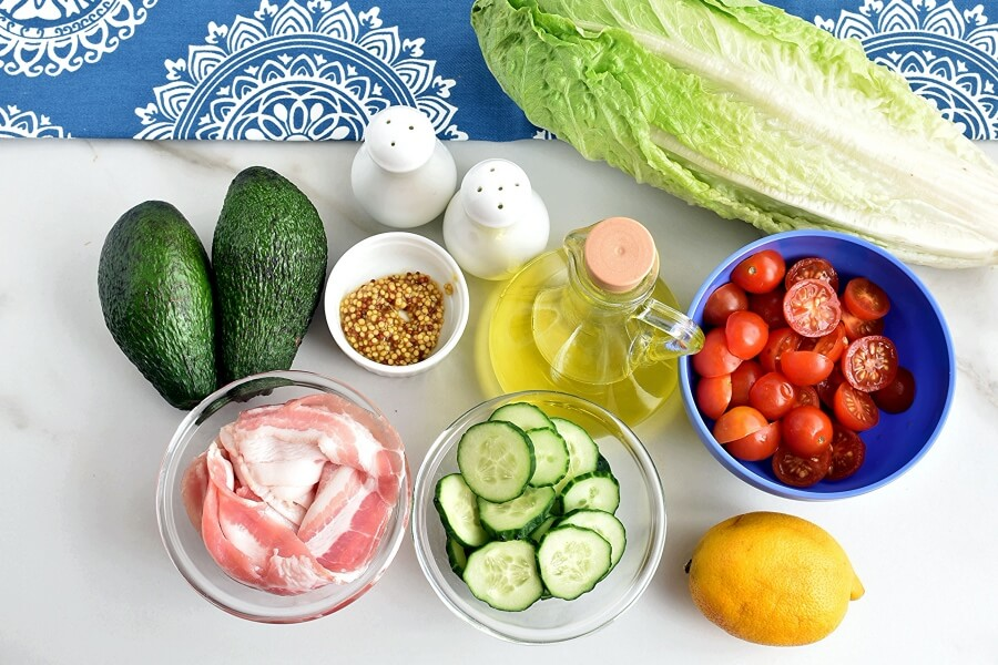 Ingridiens for Bacon, Lettuce, Tomato and Avocado Salad