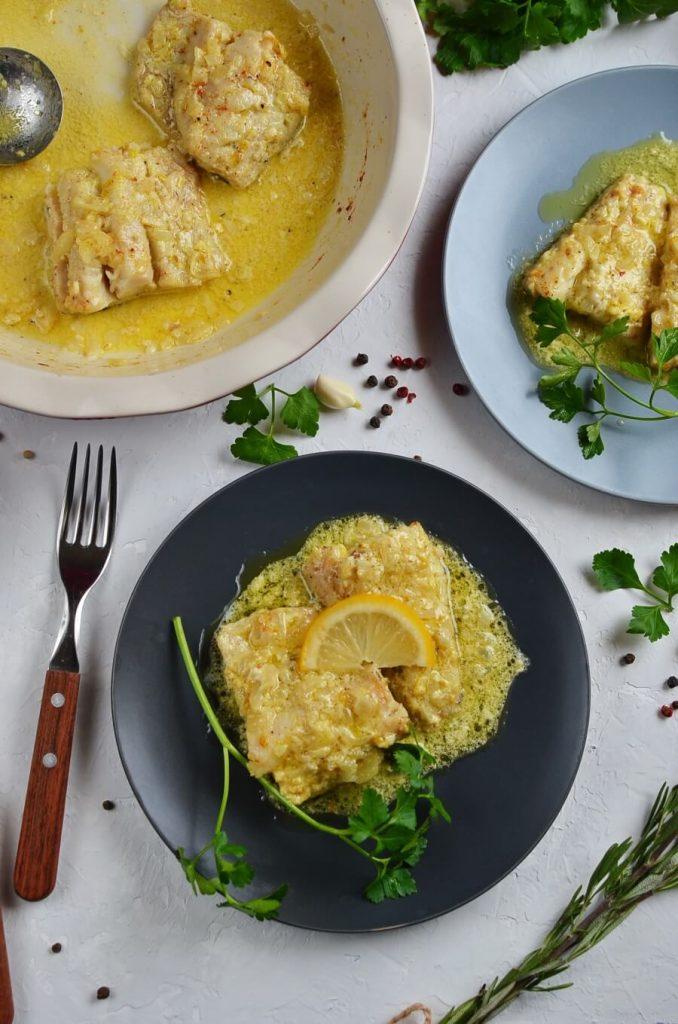 Baked Fish with Lemon Cream Sauce Recipe-How To Make Baked Fish with Lemon Cream Sauce-Delicious Baked Fish with Lemon Cream Sauce