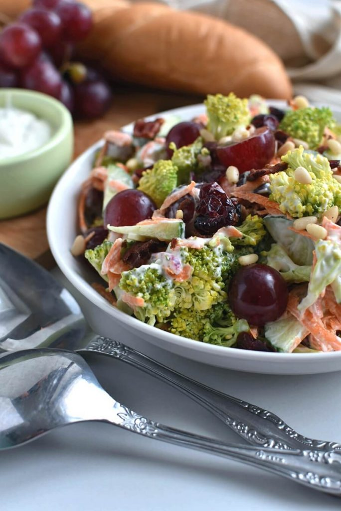 Purple and Green, Grape and Broccoli Side Salad