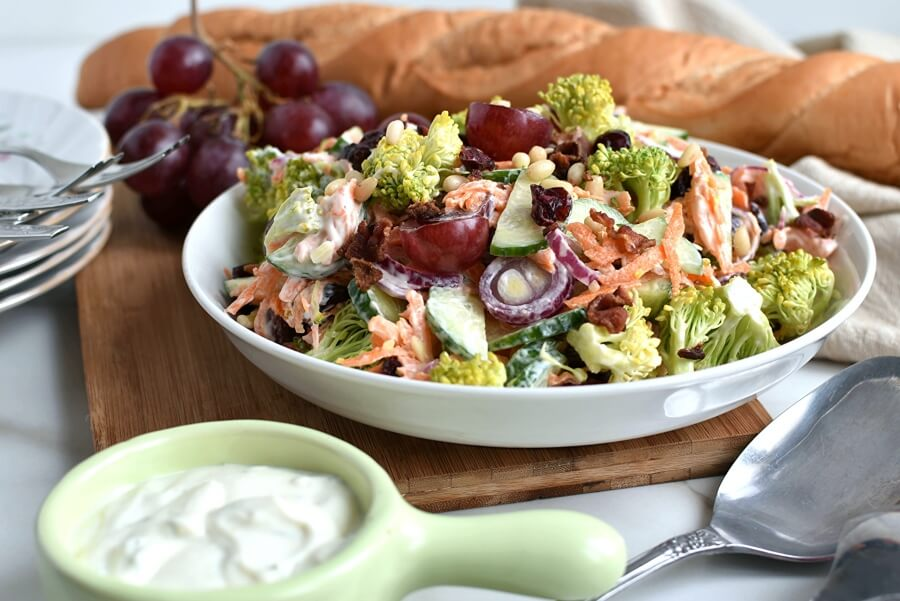 Broccoli Grape Salad Recipe-Homemade Broccoli Grape Salad-Easy Broccoli Grape Salad