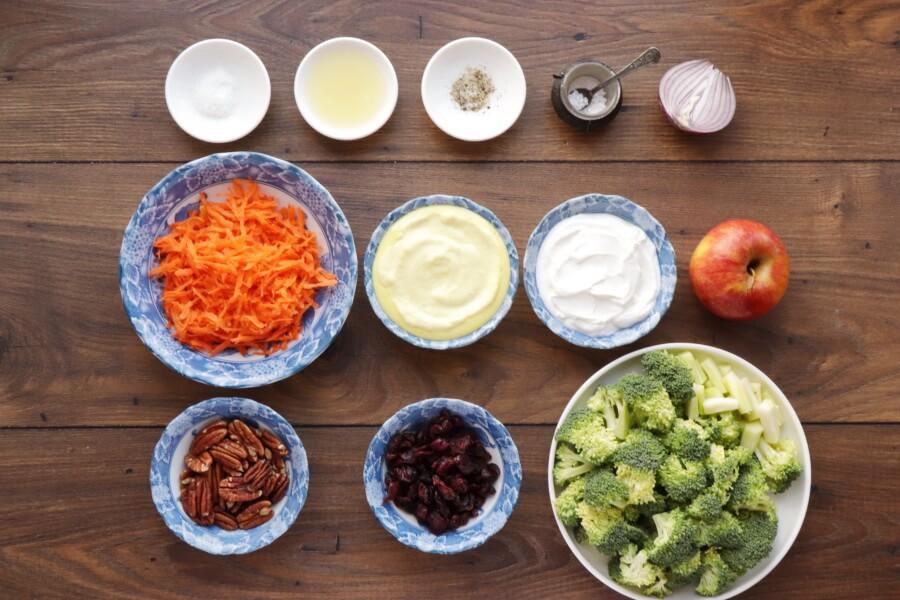 Ingridiens for Broccoli Salad with Creamy Lemon Dressing