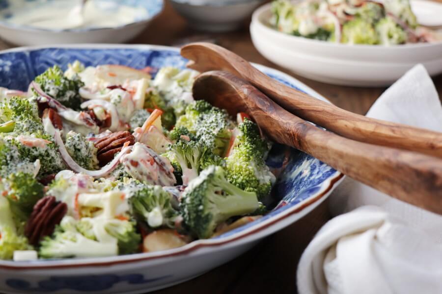 Broccoli Salad with Creamy Lemon Dressing Recipe-Creamy Broccoli Salad Recipe-Raw Broccoli Salad