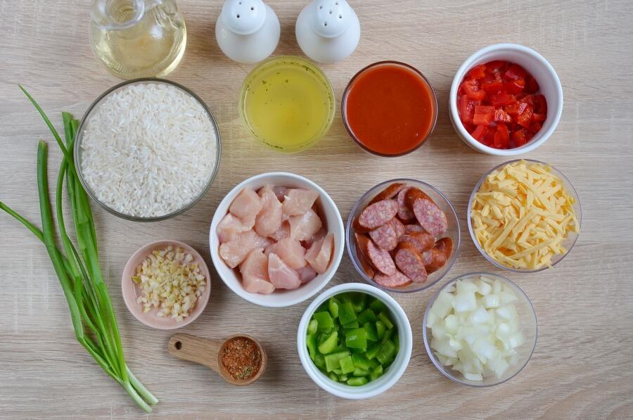Ingridiens for Cajun Rice Bake
