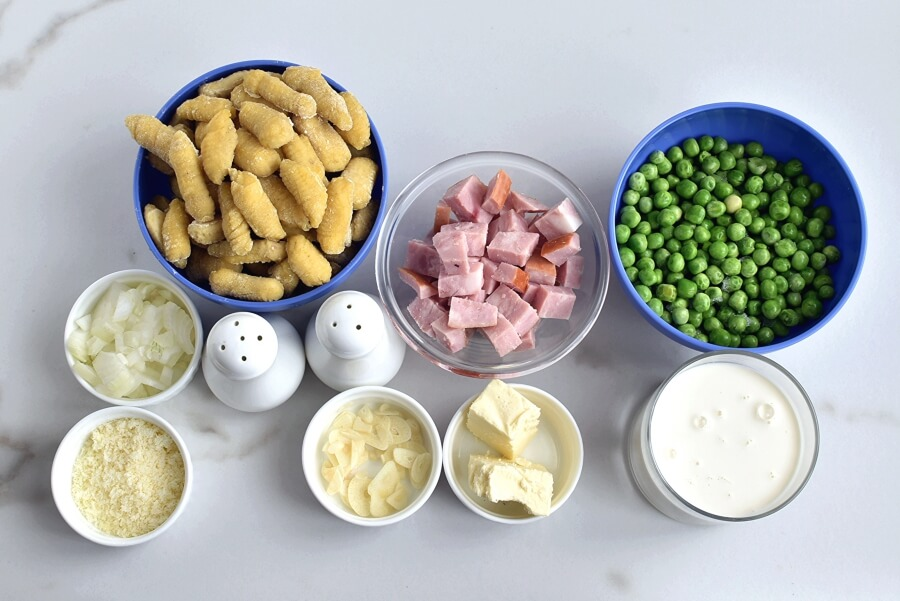 Ingridiens for Creamy Baked Gnocchi with Ham and Peas