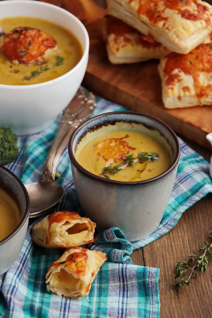 Winter Soup with Cheddar Brie Pastries