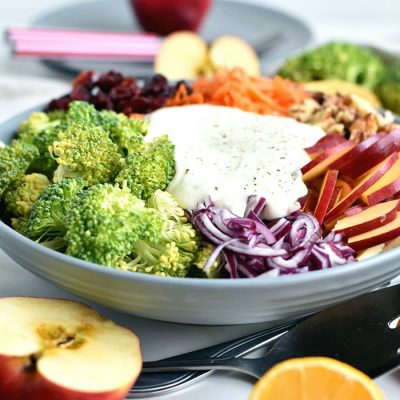 Fresh Broccoli and Apple Salad with Walnuts Recipe-Homemade Fresh Broccoli and Apple Salad with Walnuts-Easy Fresh Broccoli and Apple Salad with Walnuts