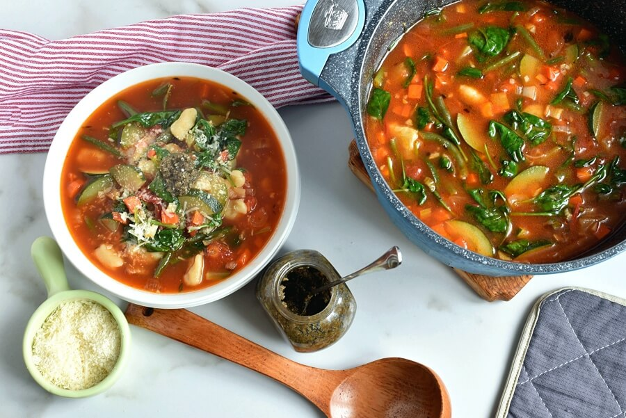 How to serve Gnocchi Vegetable Soup with Pesto and Parmesan