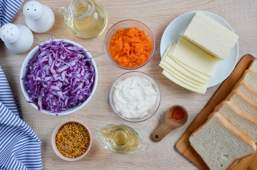 Ingridiens for Grilled Cheese and Red Cabbage Sandwiches