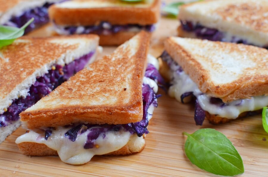 How to serve Grilled Cheese and Red Cabbage Sandwiches