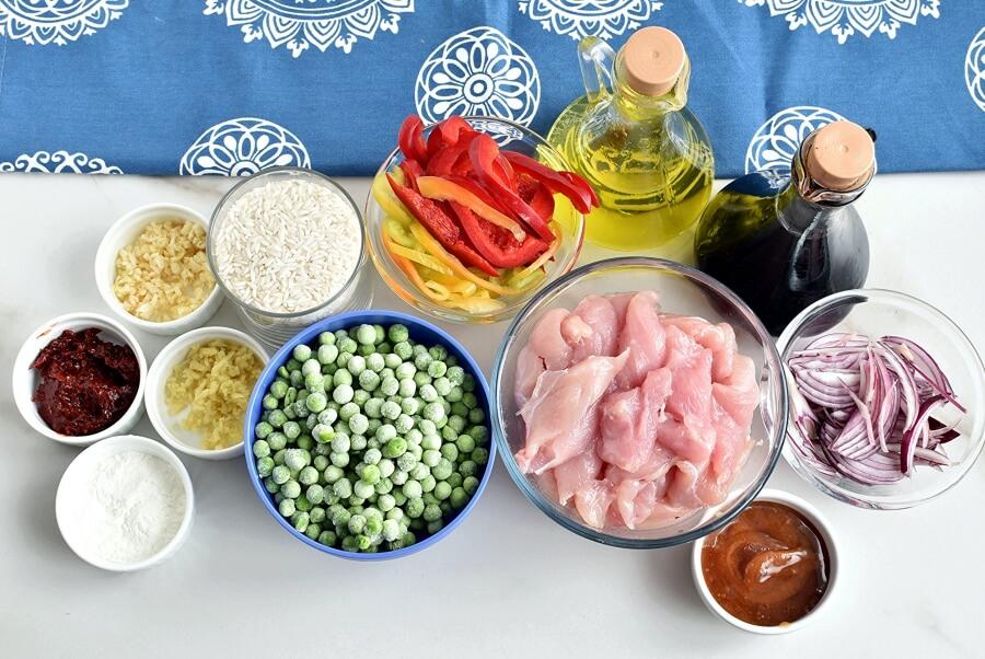Ingridiens for Honey Sriracha Chicken Stir Fry